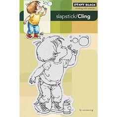 Penny Black Slapstick/Cling Rubber Stamp Bubble Boy Penny Black Karten, Penny Back, Bubble Drawing, Bubble Boy, Bubble Party, Mo Manning, Image Digital, Blowing Bubbles, Soap Bubbles