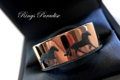 Wedding Bands, Horses Jewelry, Hors rings, Mens Wedding Ring, Horses lEngraved Flat  Wedding Bands, Men and Women Rings, Engagement Rings by RingsParadise on Etsy