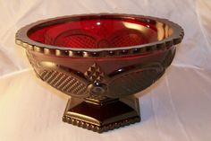 Ruby Glass Scalloped Footed Bowl Compote Avon Cape Cod