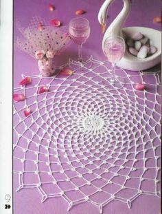 Decorative Crochet 20 - jurate - Álbuns da web do Picasa. Free pattern and diagrams!Crochet this delicate doily 'Swan Lake' - See free pattern Crochet Placemat Patterns, Crochet Mandala Pattern, Crochet Circles, Crochet Stitches Patterns, Crochet Chart, Lace Patterns, Thread Crochet, Crochet Designs, Diy Yarn Decor