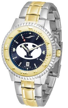 The ultimate fan's statement, our Competitor Two-Tone timepiece offers men a classic, business-appropriate look. Features a 23kt gold-plated bezel, stainless steel case and date function. Secures to y