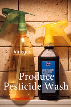 1. Put produce in a bowl and spritz well with vinegar. The acidic vinegar actually breaks down chemicals from the field and waxes or any storage enhancers that may have been used will rinse away.  2. Spritz well with 3% Hydrogen Peroxide.This step will sanitize the produce.Finally, rinse under cold water.