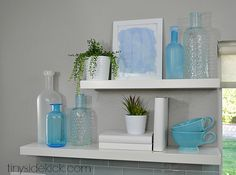 shelf styling tips, tips for styling shelves, how to style shelves, how to accessorize your home, beach decor, sea glass, west elm accessories