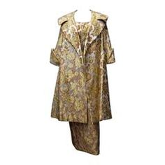 £604. Mr Blackwell 1960s Gold Brocade Evening Dress and Coat   From a collection of rare vintage dress and coat ensembles at https://www.1stdibs.com/fashion/clothing/suits-outfits-ensembles/dress-coat-ensembles/