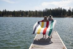 Hudson's Bay striped blanket at Clear Lake, Manitoba