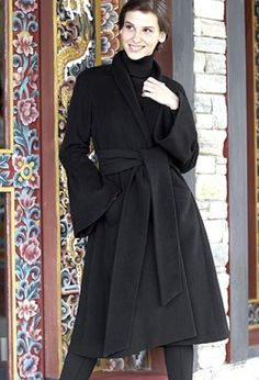 Wool, shawl-collared, wrap-coat with flared sleeves, sash belt, 8-16, £185, Jigsaw branches; 020 8392 5600. Cotton polo-neck, 8-20, £100, by Betty Barclay, Harrods, Knightsbridge, SW1; 020 7730 1234. Wool, cropped, cigarette-pants, 8-14, £145, P Harrods Knightsbridge, Wrap Coat, Sash Belts, Polo Neck, Fashion Gallery, Branches, Shawl, Collars, Wool