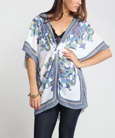 Look at this #zulilyfind! Flying Tomato White & Blue Paisley Knot Tunic by Flying Tomato #zulilyfinds