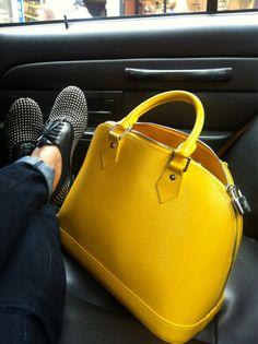 Louis Vuitton, yellow epi leather bag