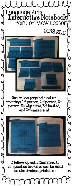 Language Arts Interactive Notebook: Point of View Lesson ~ CCSSRL.6 - Grades 5-8