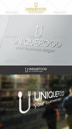 Unique Food Logo – U Logo Letter.  An excellent logo template highly suitable…