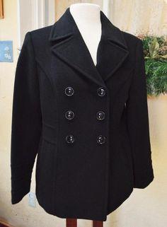 St Johns Bay Wool Blend Pea Coat M Winter Classic Warm Fun Wear w/Jeans Slacks #StJohnsBay #PeacoatBeltedTrenchCoat