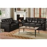 POUNDEX Furniture - Contemporary 2 Piece Sofa Set In Black Bonded Leather Covering - 47F7869B