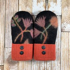 These are the warmest mittens ever! upcycled, felted wool and DOUBLE lined. Sweater Mittens, Wool Sweaters, Felted Wool, Wool Felt, Pink Flowers, Upcycle, Felted Flowers, Warm, Knitting