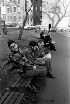 Allen Ginsberg, Gregory Corso, and Barney Rosset, Washington Square Park, 1957. Photo by Burt Glinn.