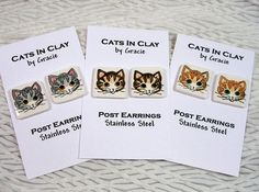 Striped Tabby Cat Clay Post Earrings Choose Your by GoodNiteGracie, $10.00