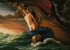 """Marco Rossati -  """"Polena vivente"""" - 1987 - olio su tela - cm 110x80"""