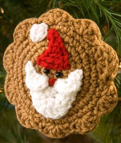 Santa Cookie Ornament Free Crochet Pattern from Red Heart Yarns
