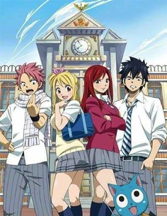 Fairy Tail - Natsu, Lucy, Erza, and Gray : School Time !