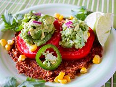 Awake At The Whisk's Raw Spicy Tostada with GuacamoleLooking for raw Mexican recipes or raw dinner recipes? This raw vegan tostada with guacamole from Amber Stott from Awake At The Whisk is DELICIOUS!