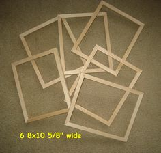 includes plexi backing Unfinished wood 8x8 picture frames lot of 3 /& hanger