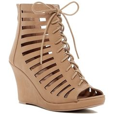 Top Moda Lack Lace-Up Cutout Wedge Sandal ($25) ❤ liked on Polyvore featuring shoes, sandals, tan, zipper sandals, tan shoes, platform wedge sandals, top moda sandals and platform sandals