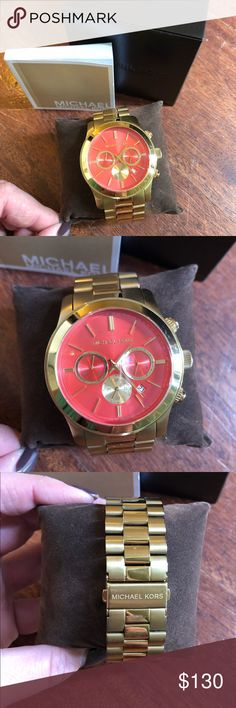MICHAEL KORS GOLD/CORAL FACE CHRONOGRAPH WATCH💜 MICHAEL KORS ABSOLUTELY BEAUTIFUL CHRONOGRAPH 43 mm WATCH  300 ft WATER RESISTANT  ** GENTLY WORN SEE PICTURES!! BEAUTIFUL CORAL FACE  EXTRA LINKS ARE IN THE WATCH  ***WATCH HAS BATTERY AND IS WORKING!!! COMES IN BOX, PILLOW AND MK WATCH BOOKLET Michael Kors Accessories Watches