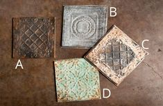 Our Tile set are beautiful Tin Tiles that are unique in design. This Tin Ceiling Tile set is great for shabby chic decor projects and there are so many ways to use them! For more Tile and Tin Tin Ceiling Tile decor visit, http://www.decorsteals.com/embossed-tiles.html OR www.facebook.com/DecorSteals #Tile #TinTiles #TinCeilingTile