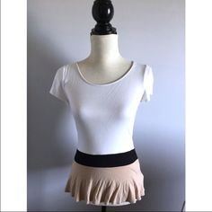 """White color block peplum top Bust-32-34"""" Waist-26"""" Length-24""""  The color is rich and vibrant golden yellow. It's lightweight and cute! Purchased while overseas, you won't find this anywhere in U.S.  ONLY SELLING  Style similar to Anthropologie Free people  #turtleneck #collar #fall #yellow Elle Tops"""