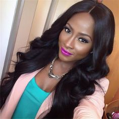 7A Grade full lace / lace front human hair wigs black wig cap body wave - Stylish n Trendier - 1