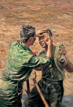 CAUTION! It's NOT a painting by Liu Xiaodong (b1963, Jincheng, Liaoning Province, China) | work of Zhang Xiexiong (张谢雄) https://cuadernoderetazos.wordpress.com/pintura/zhang-xiexiong/