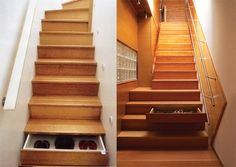 Small Space Storage Ideas: Here's a great idea that utilizes the space beneath the stairs. Turn the steps into drawers. Lots of stairs means lots of storage drawers. Staircase Drawers, Staircase Storage, Stair Storage, Staircase Ideas, Stair Idea, Stair Railing, Couch Storage, Diy Stair, Cool Ideas