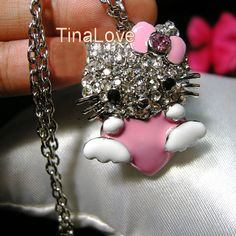 Hello Kitty* Crystal Pink Bling Heart Necklace NEW  http://www.listia.com/auction/8503087