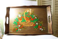 Vintage Wood Tea Tray with Reverse Glass by DeeSweetNostalgia