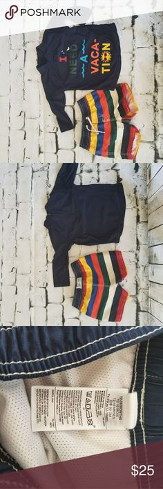 "Baby Gap Swim Trunks & Rash Guard, 12-18M ""I Need a Vacation"" long sleeved navy rash guard with matching rainbow stripe, fully lined swim trunks. Adorable! Like-new and has no marks or flaws. Only Worn with swimmer diapers ❤ GAP Swim Swim Trunks"