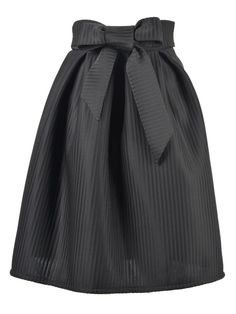 love the fabric love the bowknot so pretty black bowknot stripes high waist pleat skirt black bowknot holiday skirt party fashion