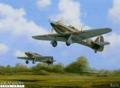 N60.  Hurricanes - July 1940 by Barry Price. <b><p>Open edition print. <p> Image size 16 inches x 12 inches (41cm x 31cm)