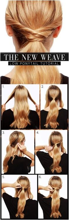 Cute Everyday Hairstyles: Low Ponytail Tutorial (link no longer works, but picture is pretty informative) looks pretty easy to do Ponytail Hairstyles Tutorial, Ponytail Tutorial, Diy Hairstyles, Weave Ponytail, Hairstyle Tutorials, Low Pony Hairstyles, Twisted Ponytail, Ponytail Styles, Hair Ponytail
