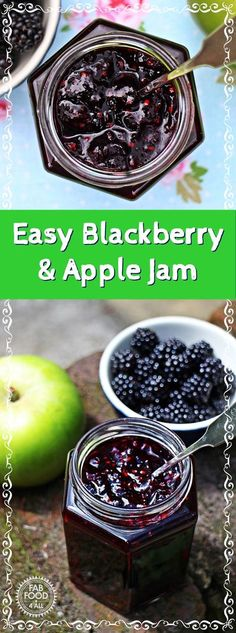 Easy Blackberry & Apple Jam - Fab Food 4 All #blackberry #apple #jam #preserve #masonjar #canning #conserve Jelly Recipes, Jam Recipes, Canning Recipes, Fruit Recipes, Vegan Recipes Easy, Apple Recipes, Dessert Recipes, Desserts, Budget Recipes