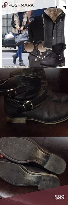 REPORT Jude Black Leather Ankle Boots In used condition. Has a vintage style to it now. Leaguer has some minor stains and buckle is not very shinny, But inside is very clean and still has that great leather smell. Exact boots seen on Olivia Palermo. VERY RARE! Report Shoes Ankle Boots & Booties