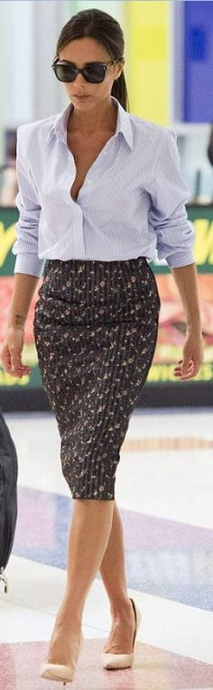Who made  Victoria Beckham's floral skirt and black sunglasses