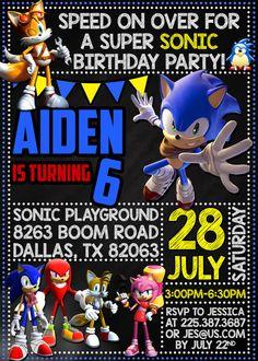Sonic Boom Birthday Party Invitation por DreamsDigital en Etsy