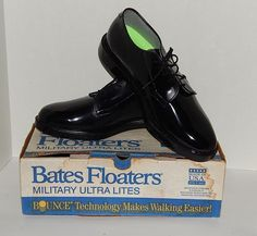 Bates Floaters Black Shoes Shiny Leather Original Military Work Dress Sz 8 1/2  #Bates #OriginalBatesFloaters