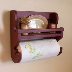 Farmhouse Primitive Paper Towel Spice Rack / Original Design / Barn Red / Color Choice