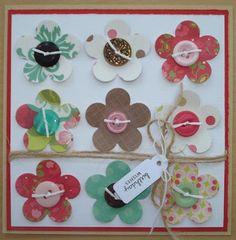 Bloemen met knoop op kaart. Bloem zijn makkelijk uit te snijden met de cricut snijmachine.