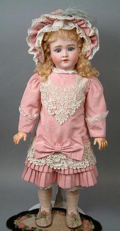 "Handwerck Halbig 109 DEP 30"" Antique Bisque Doll in Pink Bebe Dress from kathylibratysantiques on Ruby Lane"