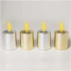 "Set of 4 Long Life Metallic Finish (Two Silver, Two Gold) Flickering Amber Votive Size LED Candles With Electronic Timers; ""They Stay Lit For 4 Months On One Set of Batteries!"