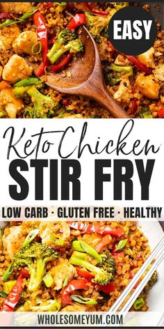 Low Carb Chicken Recipes, Low Carb Dinner Recipes, Stir Fry Recipes, Keto Chicken, Keto Dinner, Cooking Recipes, Paleo Recipes, Healthy Low Carb Dinners, Vitamix Recipes