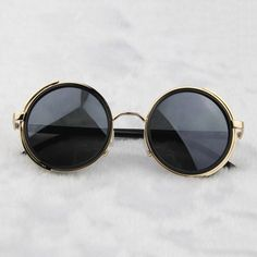9899e7077de Steampunk Glasses - Gold   Gray With Side Shields