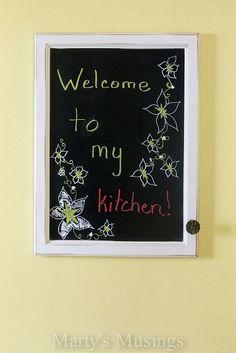 Great Repurposing: Bathroom Mirror to Chalk Message Board