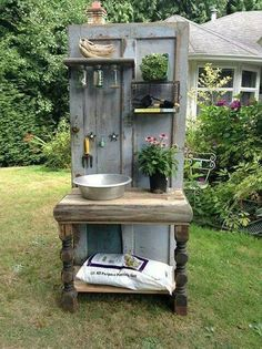 Altered Olives, a British Columbia-based company that creates custom recycled furniture, crafted this one-of-a-kind potting bench from an old wooden door and other salvaged items. # Gardening bench 14 Ways to Perk Up Your Garden Shed